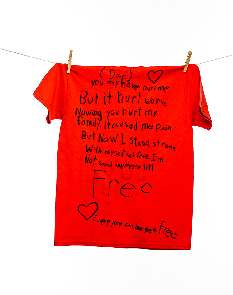 (Dad)you may have hurt me But it hurt worse nowing [sic] you hurt my family. It caused my pain But now I stand strong With myself set free. I'm Not scared anymore im [sic] Free.Everyone can be set Free